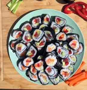 maki maison au saumon et thon